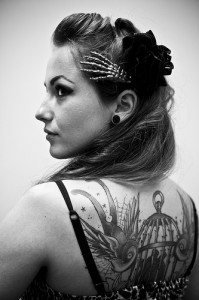 tattoo girl bw