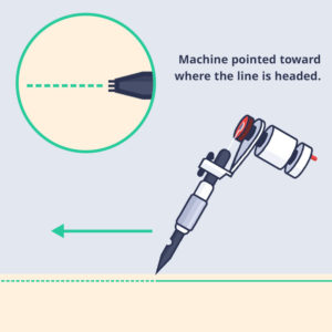 tattoo machine faces forward