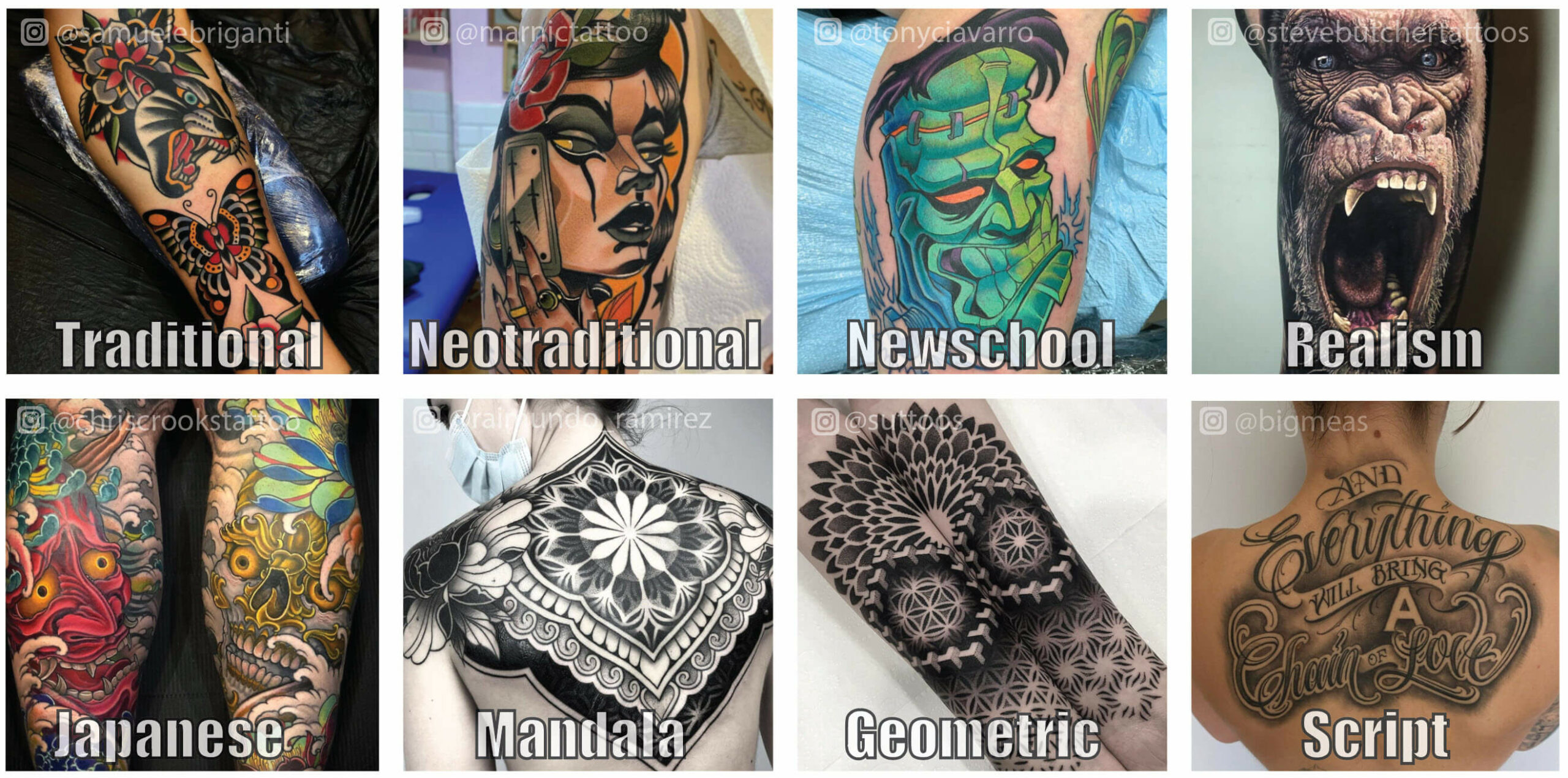 Tattoo style examples